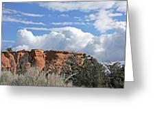 Colorado National Monument Colorado Blue Sky Red Rocks Clouds Trees Greeting Card