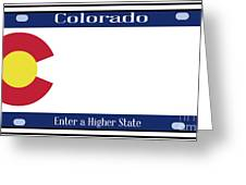 Colorado State License Plate Greeting Card