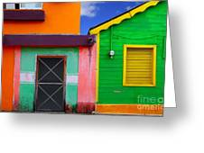 Colorful Caribbean Houses Tropical Greeting Card
