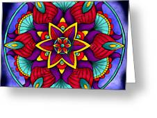 Colorful Flower Mandala Greeting Card by Becky Herrera