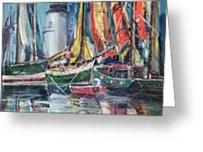 Colorful Harbor Greeting Card