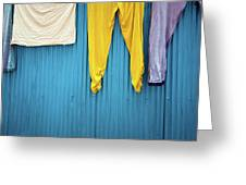 Colorful Laundry Greeting Card by Nicole Young