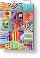 Colorful Patchwork 1- Art By Linda Woods Greeting Card