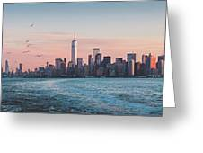 Colorful Sunrise Over The New York Skyline And The Statue Of Lib Greeting Card