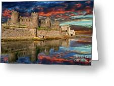 Conwy Castle Sunset Greeting Card by Adrian Evans