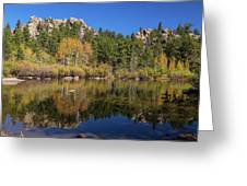 Cool Calm Rocky Mountains Autumn Reflections Greeting Card