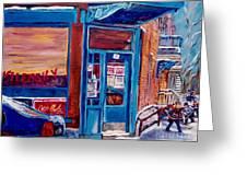 Corner Cafe Clark And Fairmount Wilensky's Winter Scene Habs Hockey Art C Spandau Quebec Artist Greeting Card
