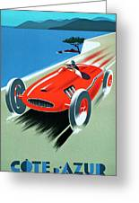 Cote D Azur, French Rivera Vintage Racing Poster Greeting Card