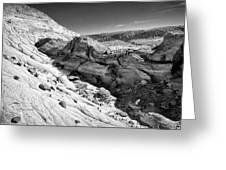 Cottonwood Creek Strange Rocks 7 Bw Greeting Card