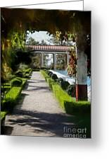 Painted Texture Courtyard Landscape Getty Villa California  Greeting Card
