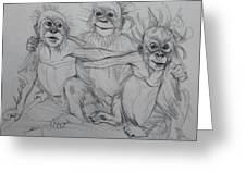 Cousins Sketch Greeting Card by Jani Freimann