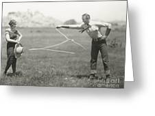 Cowboy Showing Off His Roping Skills Greeting Card