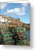 Crail Harbour And Lobster Pots Greeting Card