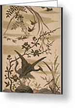 Cranes And Birds At Pond 1880 Greeting Card