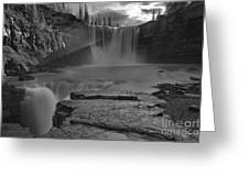 Crescent Falls Light Rays Through The Mist Black And White Greeting Card
