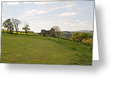 Crighton Castle Ruins And Hills, Midlothian Greeting Card