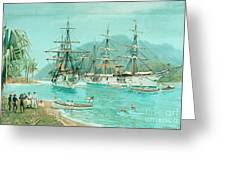Cruiser And Gunboat Hoist On Ponape The German Flag Greeting Card