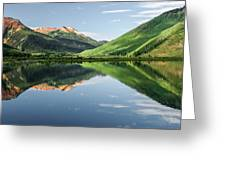 Crystal Lake Red Mountain Reflection Greeting Card by Robert Bellomy