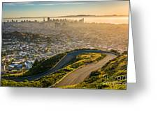 Curvy Road And View Of Downtown At Greeting Card