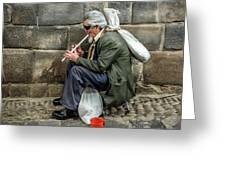 Cusco Man Greeting Card by Jon Exley