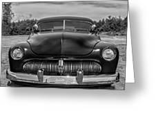Customized 1950 Mercury In Bw Greeting Card