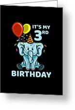 Cute 3rd Third Birthday Elephant Greeting Card
