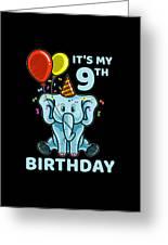 Cute 9th Ninth Birthday Elephant Greeting Card
