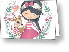 Cute Girl And Little Deer Vector Design Greeting Card