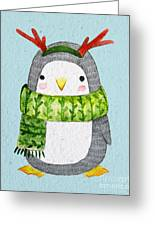 Cute Penguin In Scarf. Watercolor Greeting Card
