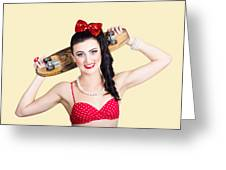 Cute Pinup Skater Girl In Punk Glam Fashion Greeting Card