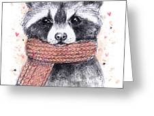 Cute Raccoon With Scarf , Sketchy Greeting Card