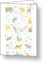 Cute Zoo Alphabet With Funny Animals In Greeting Card