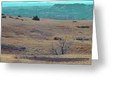 Cyan Horizon Greeting Card