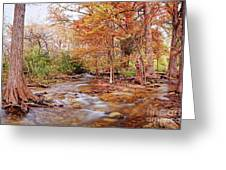 Cypress Creek As It Exits Blue Hole Regional Park In Wimberley, Hays County Texas Hill Country Greeting Card