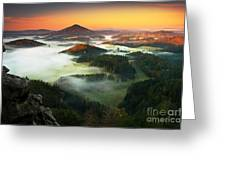 Czech Typical Autumn Landscape. Hills Greeting Card