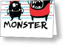 Dada Monster Cute Monster Cartoon For Kids And Dad Light Greeting Card