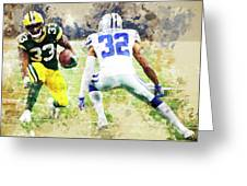 Dallas Cowboys Against Green Bay Packers. Greeting Card