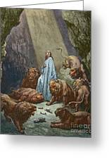 Daniel In The Den Of Lions  Engraving By Gustave Dore Greeting Card