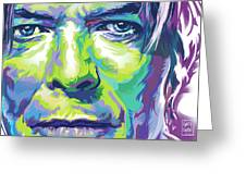 David Bowie Portrait In Aqua And Green Greeting Card