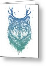 Deer Wolf Greeting Card