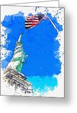 Defending Liberty Watercolor By Ahmet Asar Greeting Card