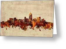 Denver Skyline Sepia Greeting Card