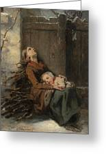Destitute Dead Mother Holding Her Sleeping Child In Winter, 1850 Greeting Card
