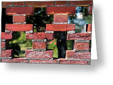 Details Of A Red Brick Wall With Pattern Greeting Card