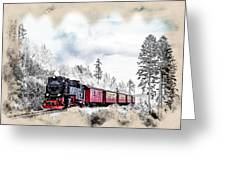 Diesel Powered Passenger Train Greeting Card