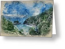 Digital Watercolor Painting Of Beautiful Dramatic Sunrise Landsa Greeting Card