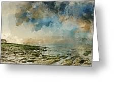 Digital Watercolor Painting Of Beautiful Landscape Panorama Suns Greeting Card