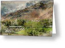 Digital Watercolor Painting Of Beautiful Old Village Landscape N Greeting Card