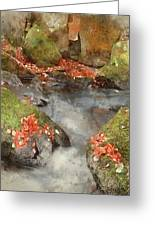 Digital Watercolor Painting Of Blurred Water Detail With Rocks N Greeting Card