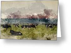 Digital Watercolor Painting Of Cattle In Field During Misty Sunr Greeting Card